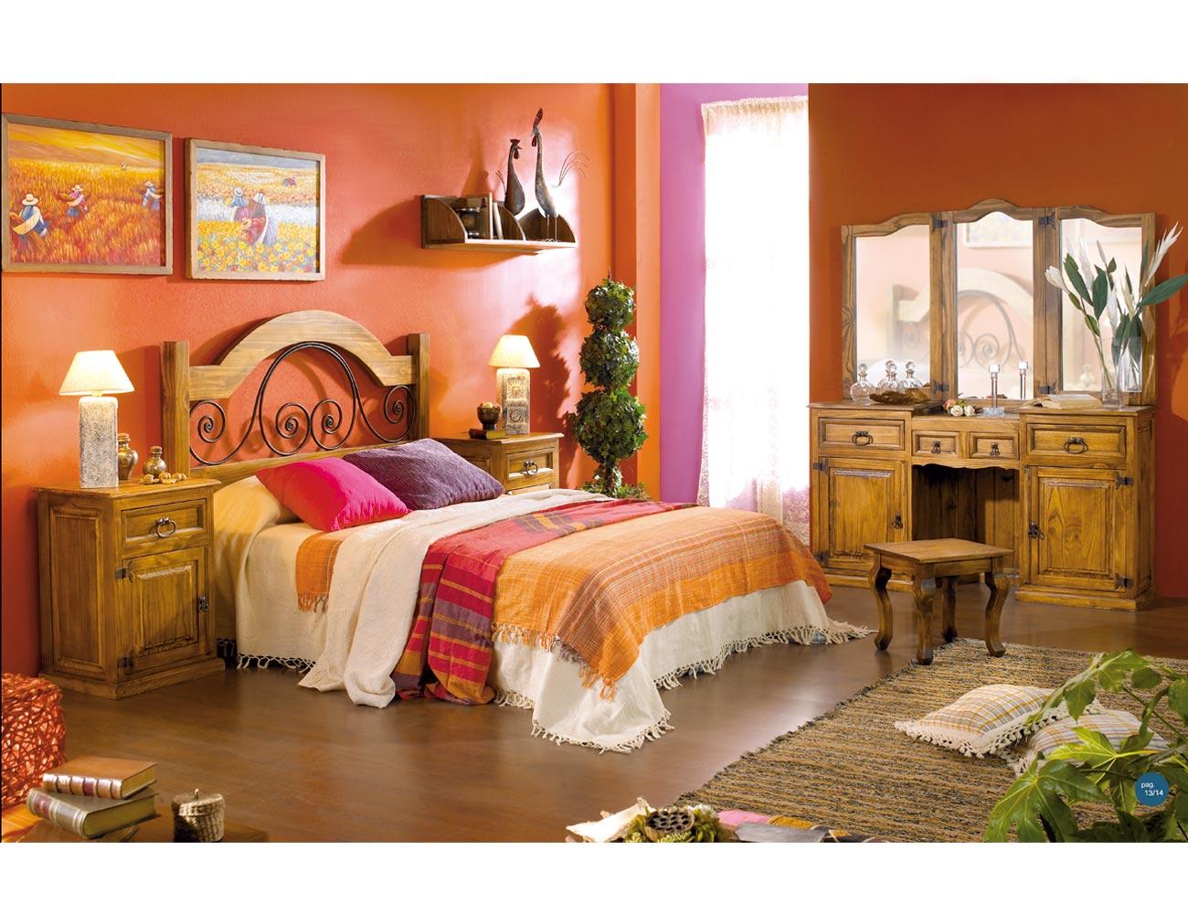 Dormitorio matrimonio madera cabecero santa ana coqueta