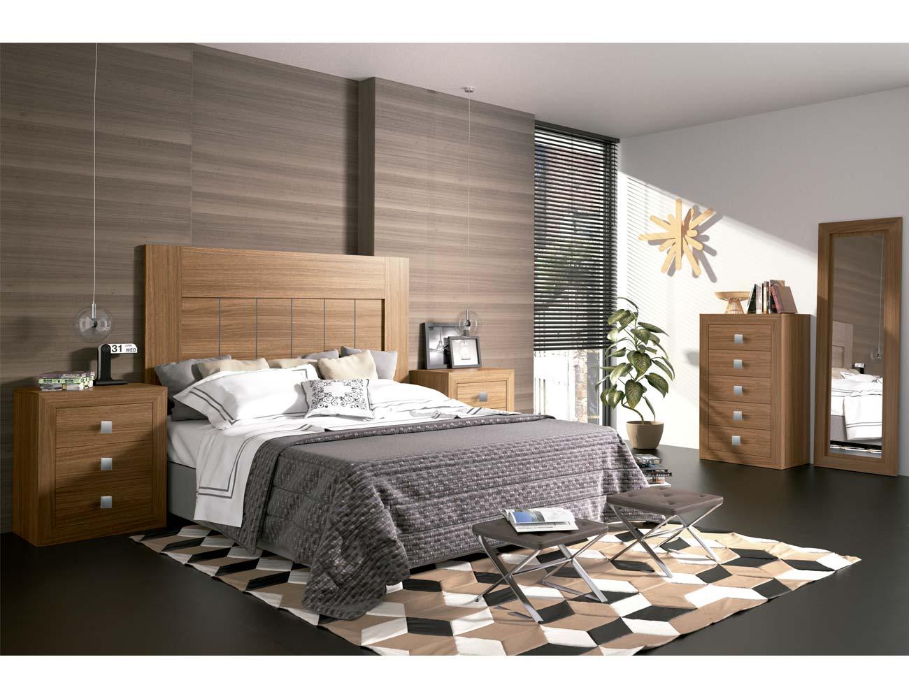 Dormitorio matrimonio moderno 05 color nogal