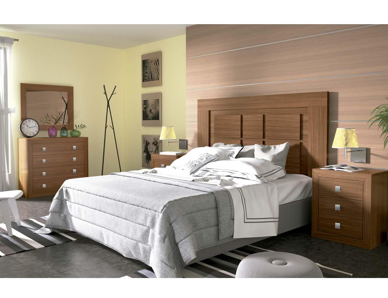 Dormitorio matrimonio moderno 09 nogal