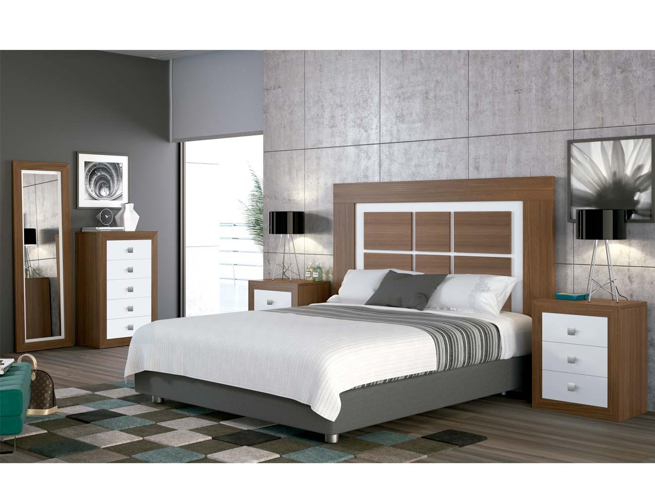 Dormitorio matrimonio moderno 11 nogal blanco