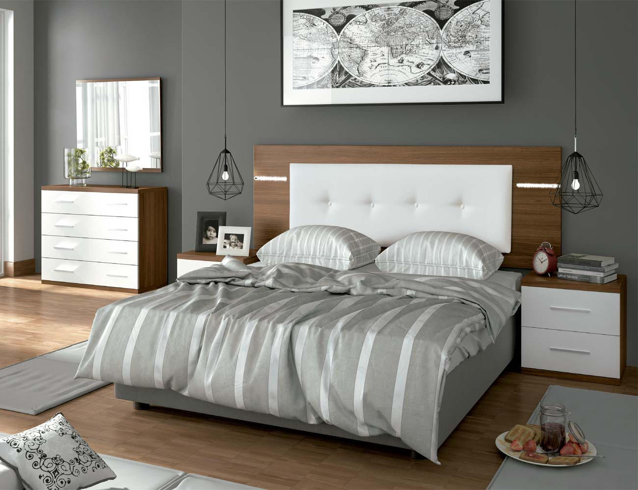 Dormitorio matrimonio moderno 15 nogal blanco