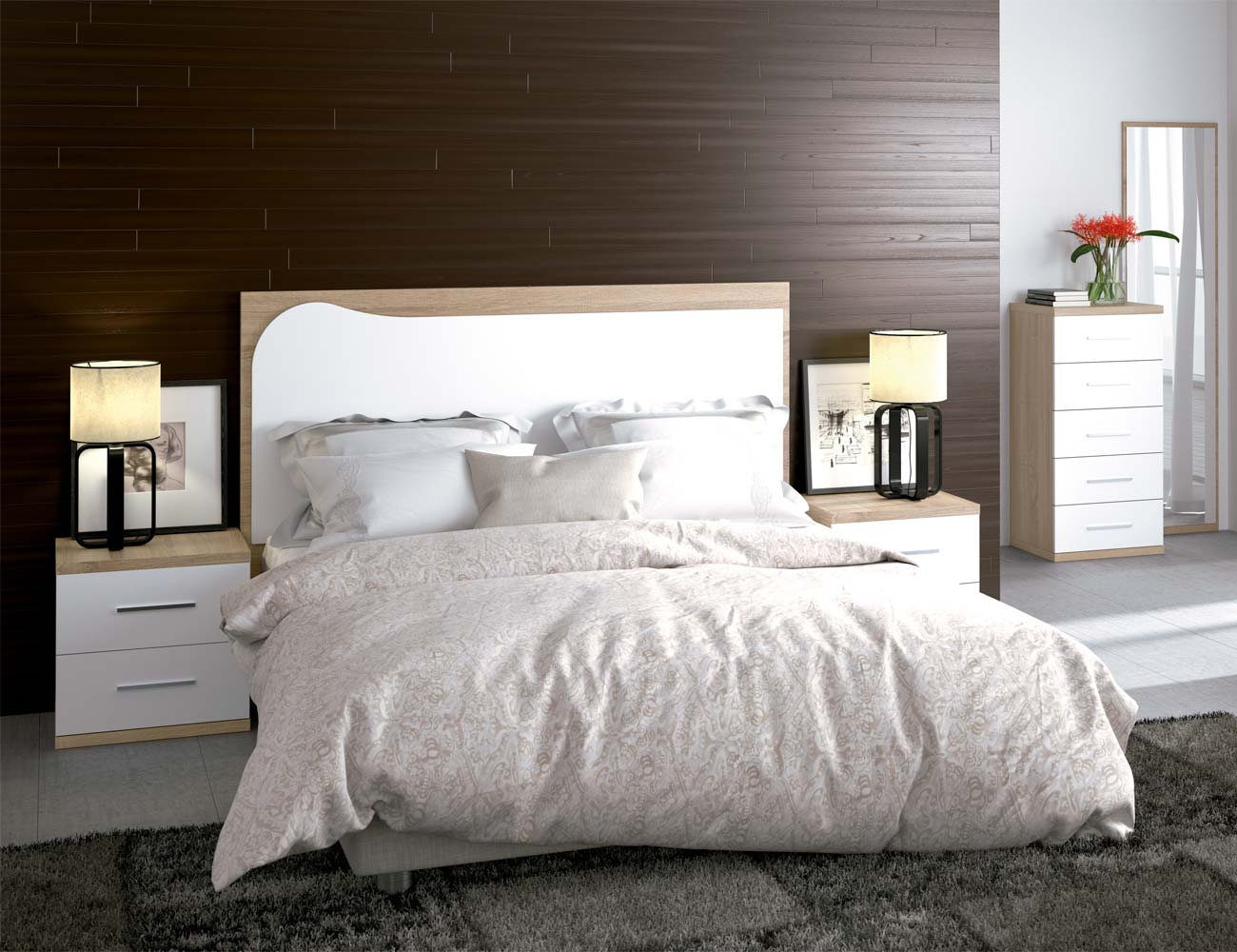 Dormitorio matrimonio moderno 18 cambrian blanco