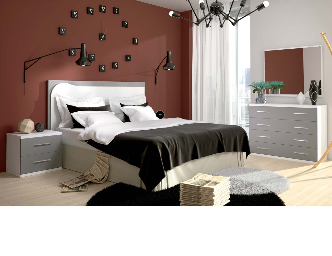 Dormitorio matrimonio moderno 20 blanco gris