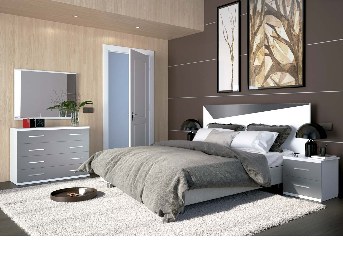 Dormitorio matrimonio moderno 24 blanco gris