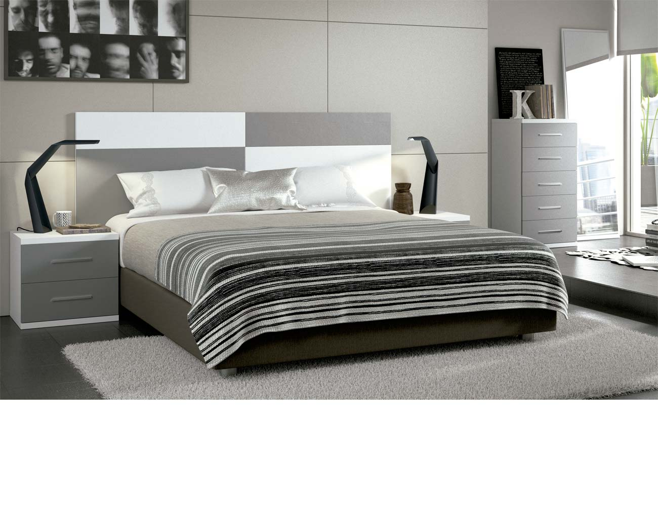Dormitorio matrimonio moderno 25 blanco gris