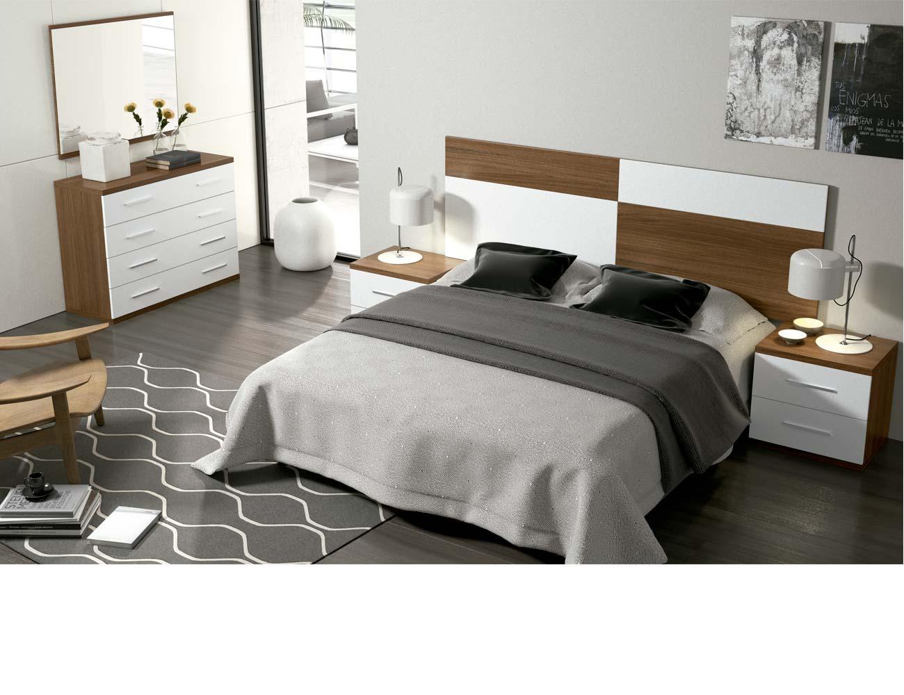 Dormitorio matrimonio moderno 27 nogal blanco