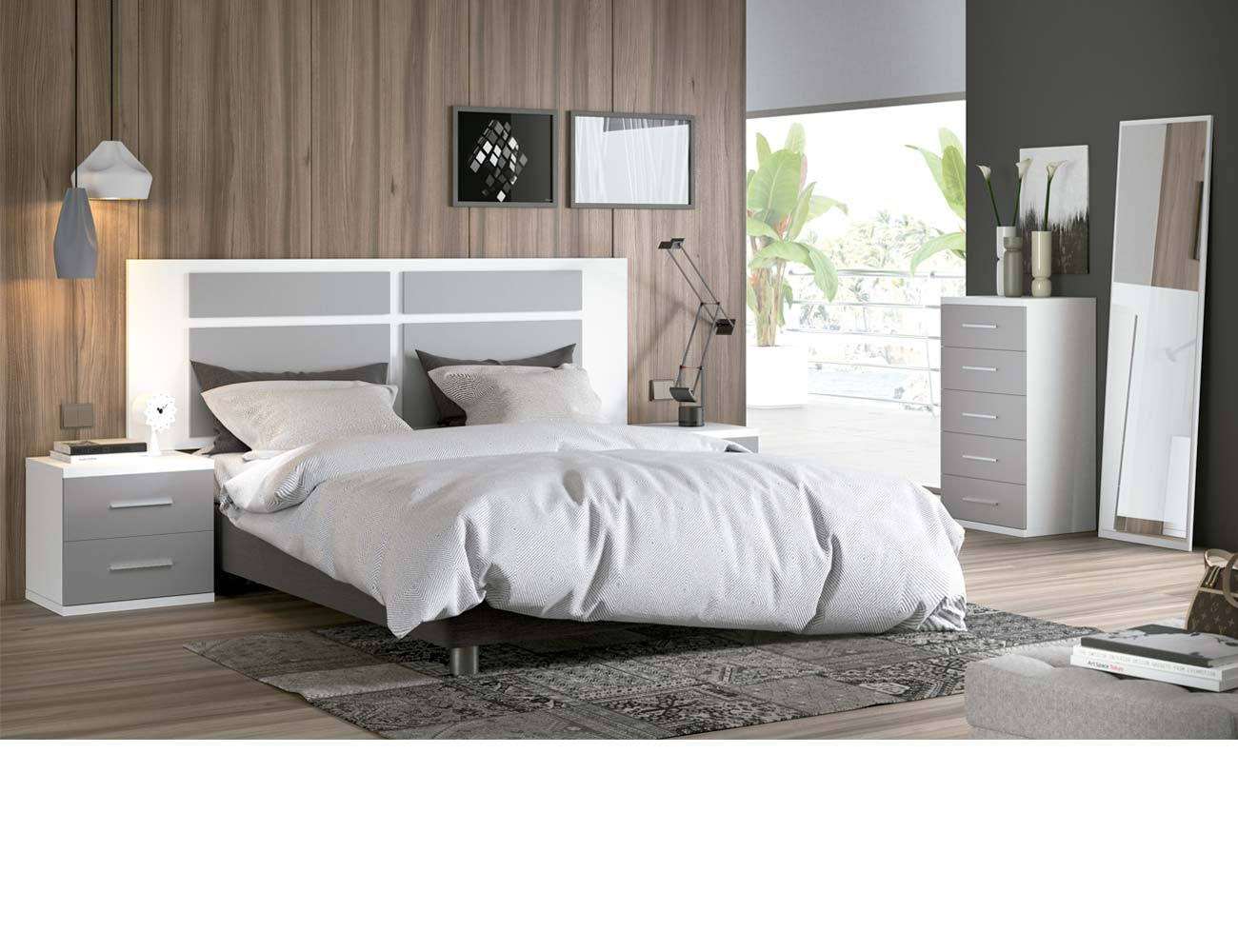 Dormitorio matrimonio moderno 29 blanco gris