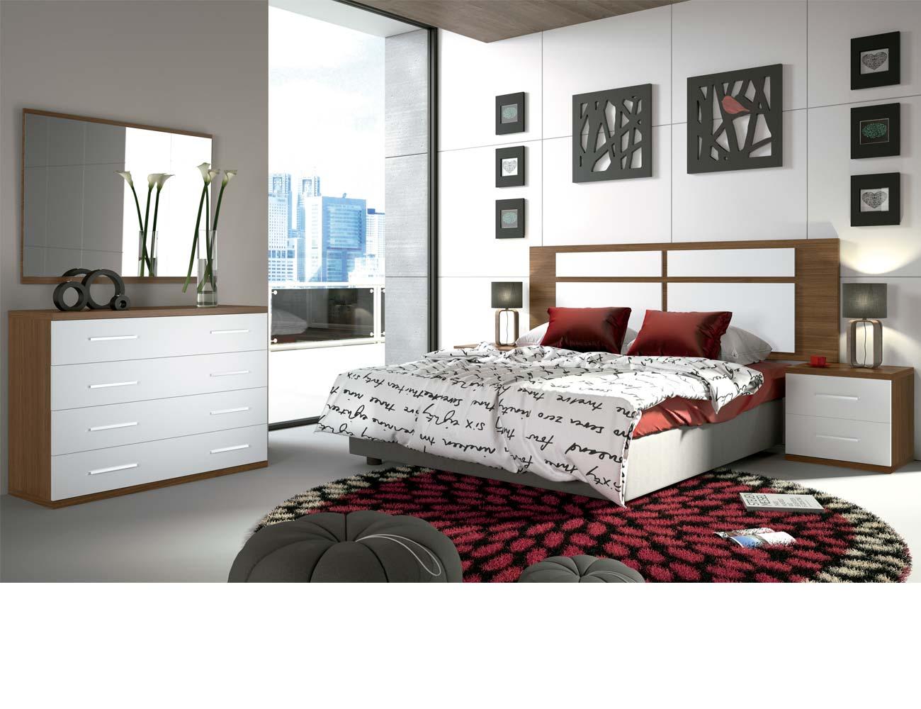 Dormitorio matrimonio moderno 30 nogal blanco