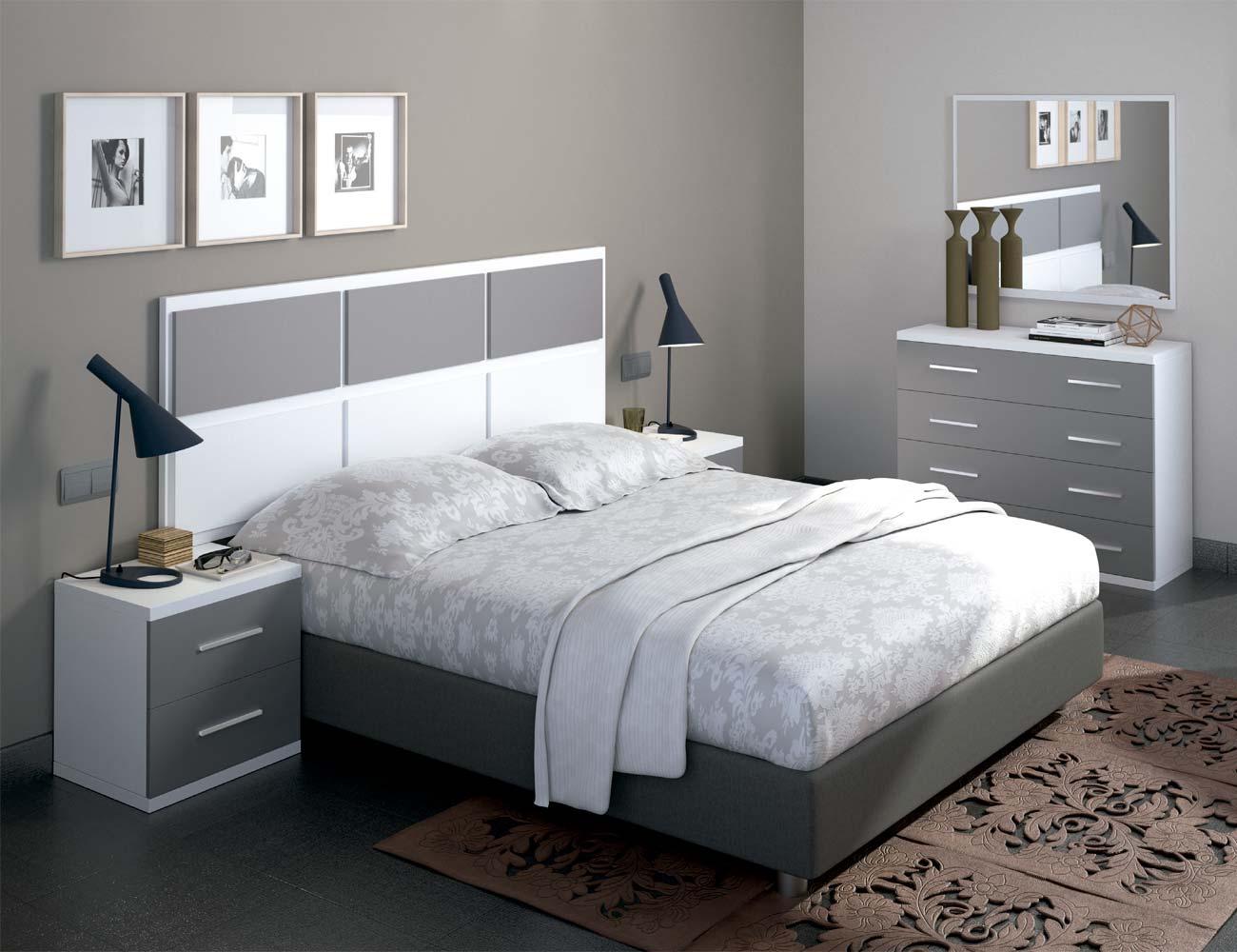 Dormitorio matrimonio moderno 31 blanco gris