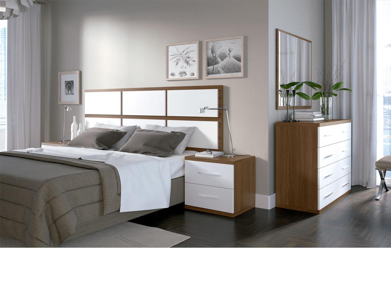 Dormitorio matrimonio moderno 33 nogal blanco