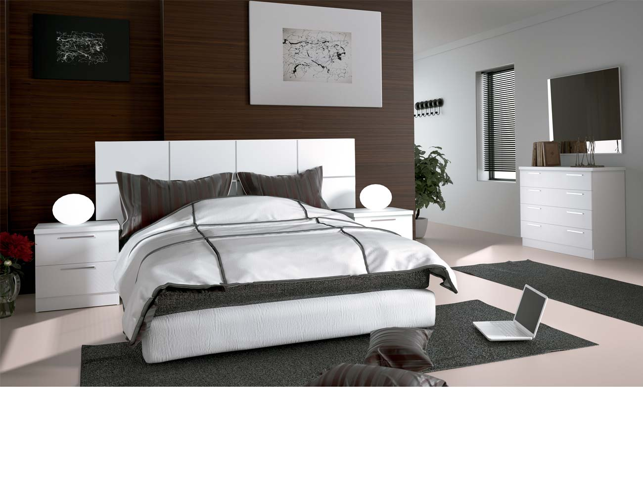 Dormitorio matrimonio moderno 38 blanco