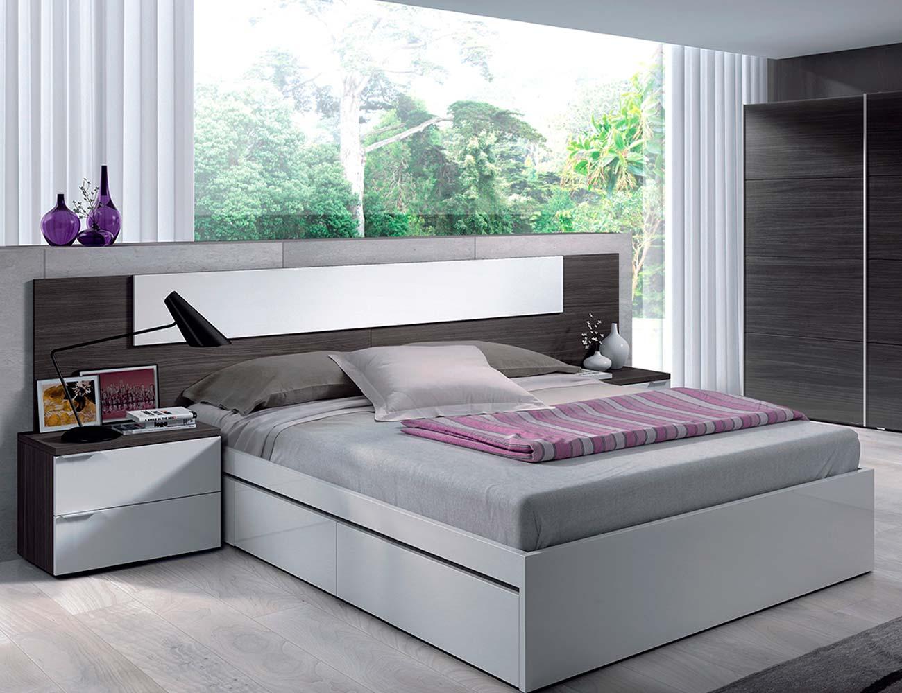 Dormitorio matrimonio moderno barato gris ceniza blanco