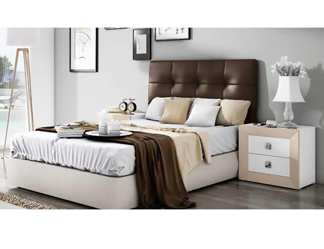 Dormitorio matrimonio moderno blanco vison polipiel chocolate 08