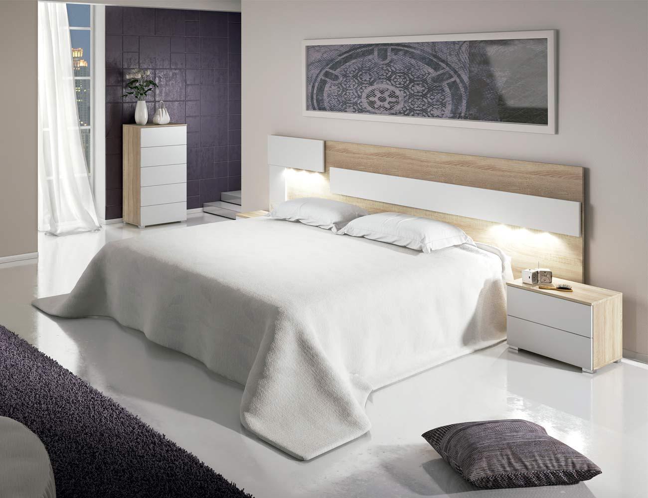 Dormitorio matrimonio moderno cabecero leds sinfonier cambrian blanco 04