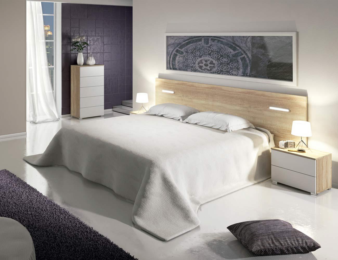 Dormitorio matrimonio moderno cabecero leds sinfonier cambrian blanco