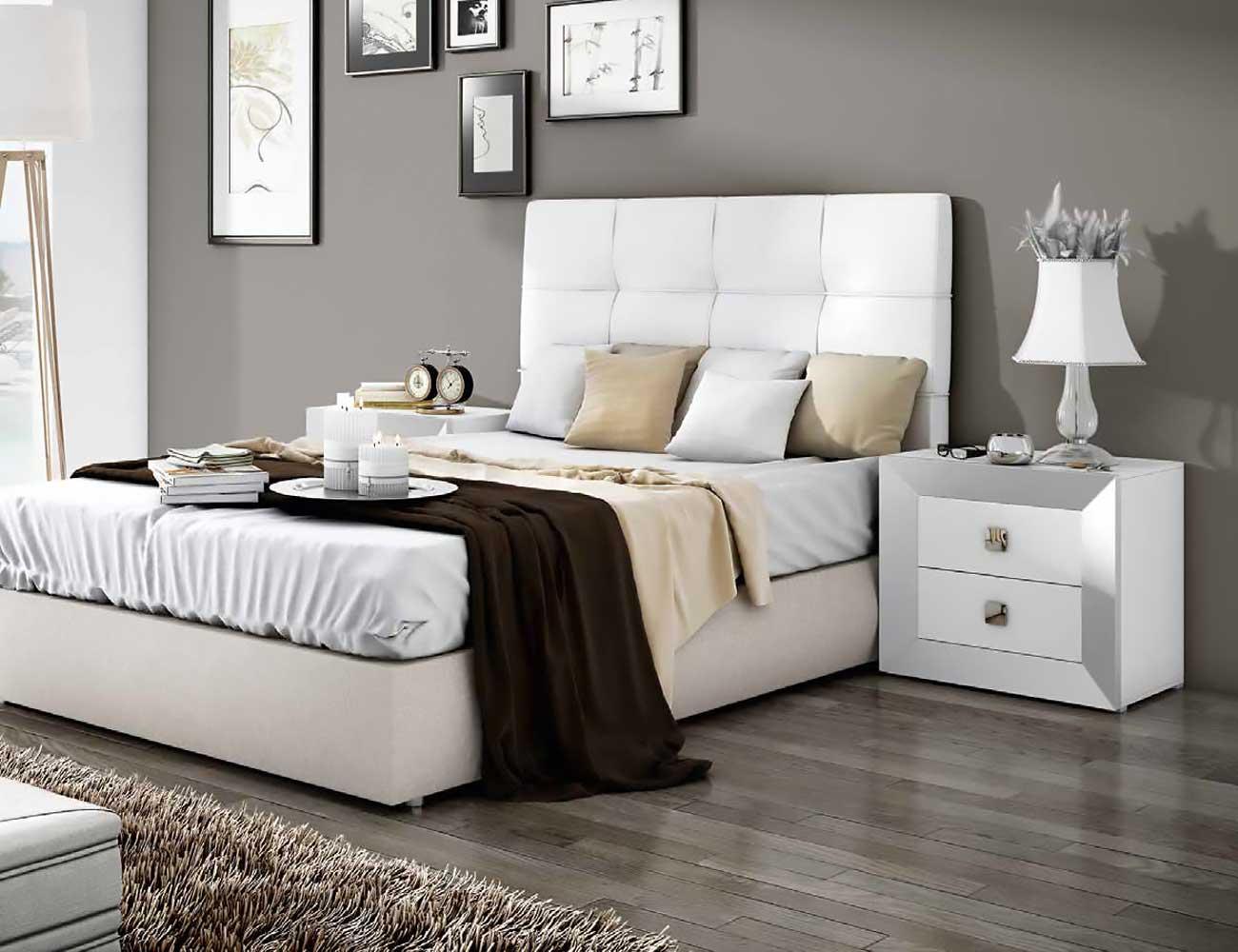 Dormitorio de matrimonio moderno con cabecero en polipiel - Dormitorios blancos modernos ...