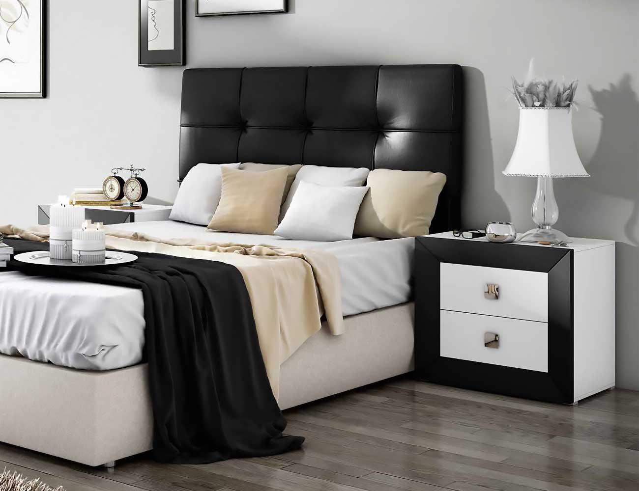 Dormitorio de matrimonio moderno con cabecero en polipiel for Dormitorio negro
