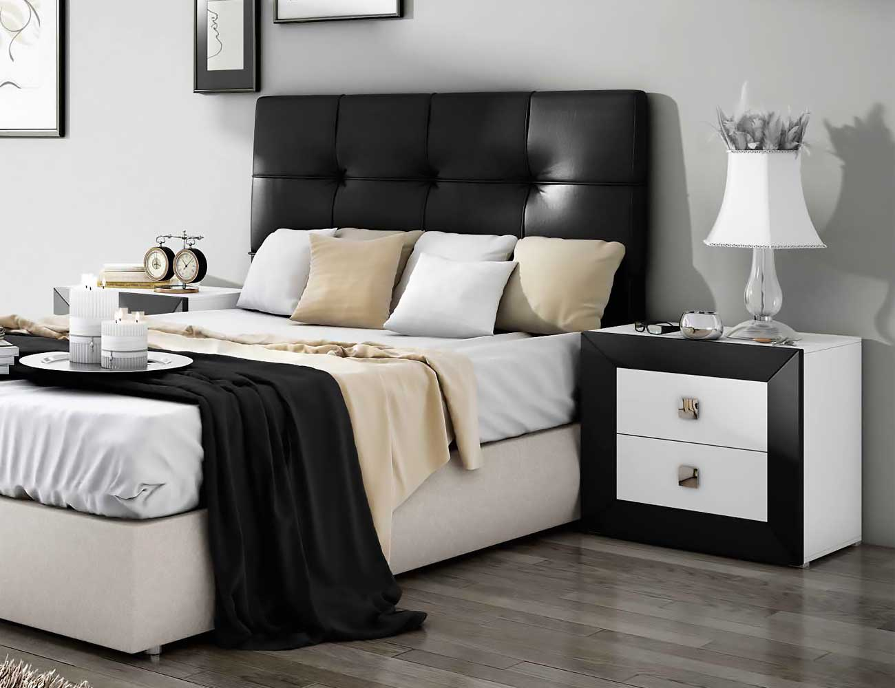 Dormitorio de matrimonio moderno con cabecero en polipiel for Dormitorio matrimonio negro