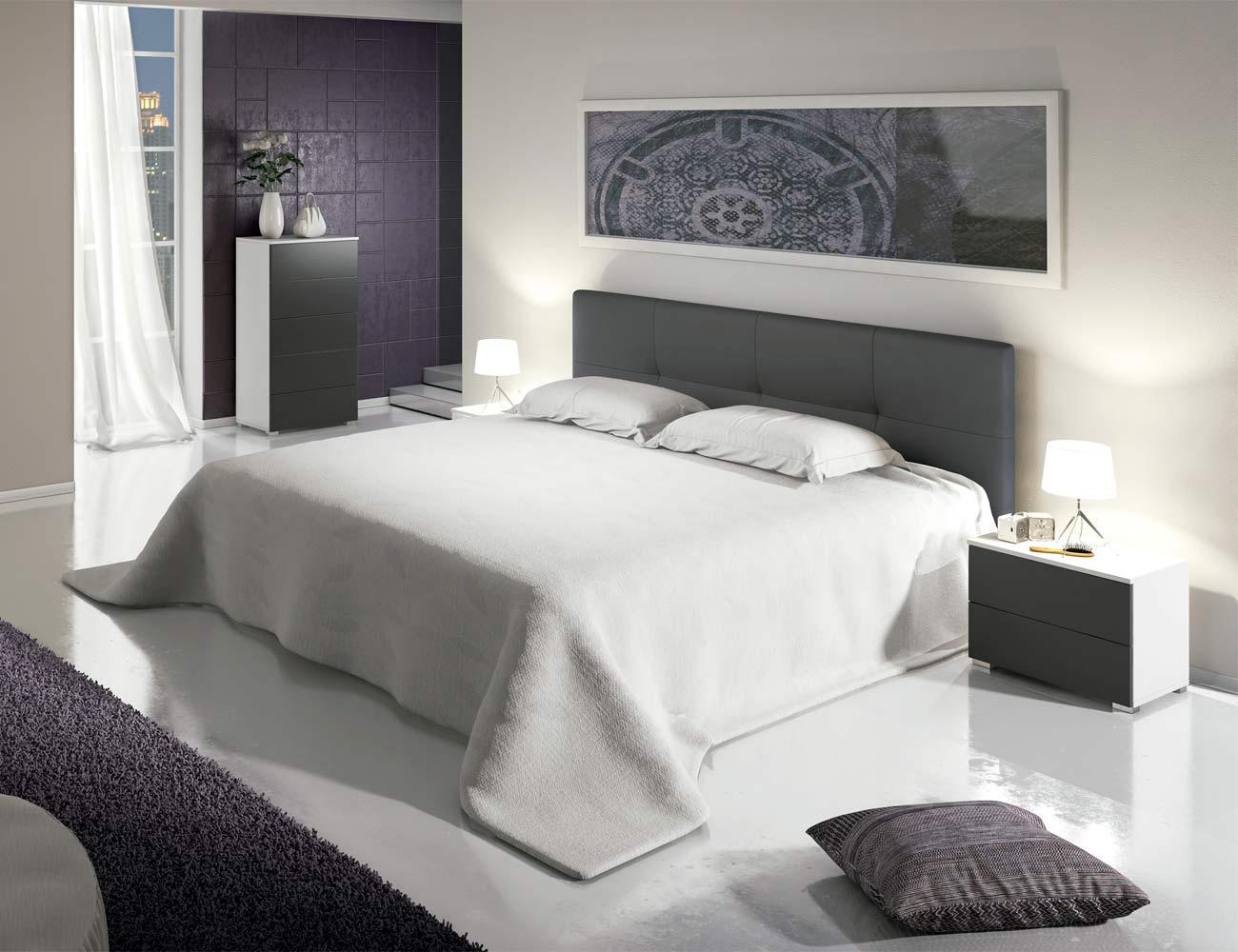 Dormitorio matrimonio moderno sinfonier polipiel blanco grafito