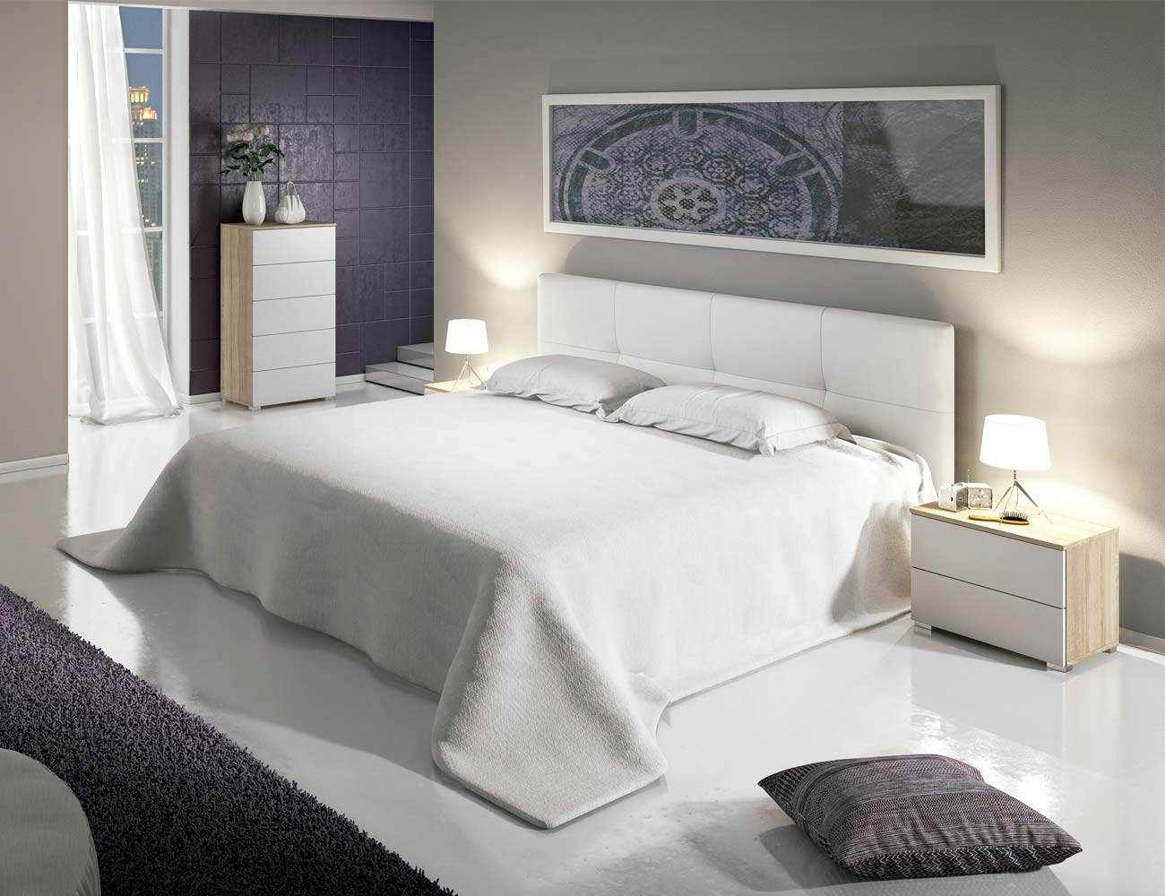 Dormitorio matrimonio moderno sinfonier polipiel cambrian blanco