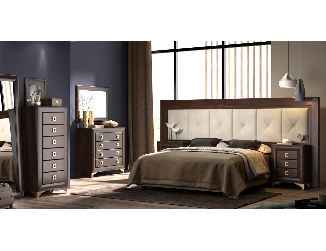 Dormitorio matrimonio nogal tapizado patas cabecero 285cm2