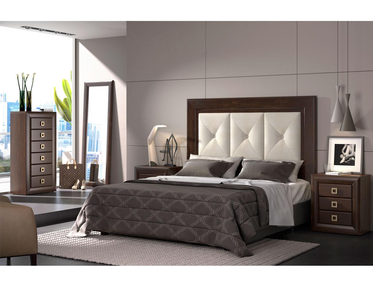 dormitorio de matrimonio con cabecero tapizado en color