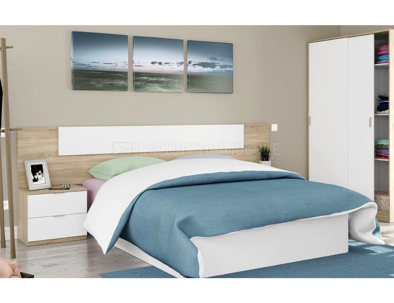 Dormitorio matrimonio en Roble con blanco Artik