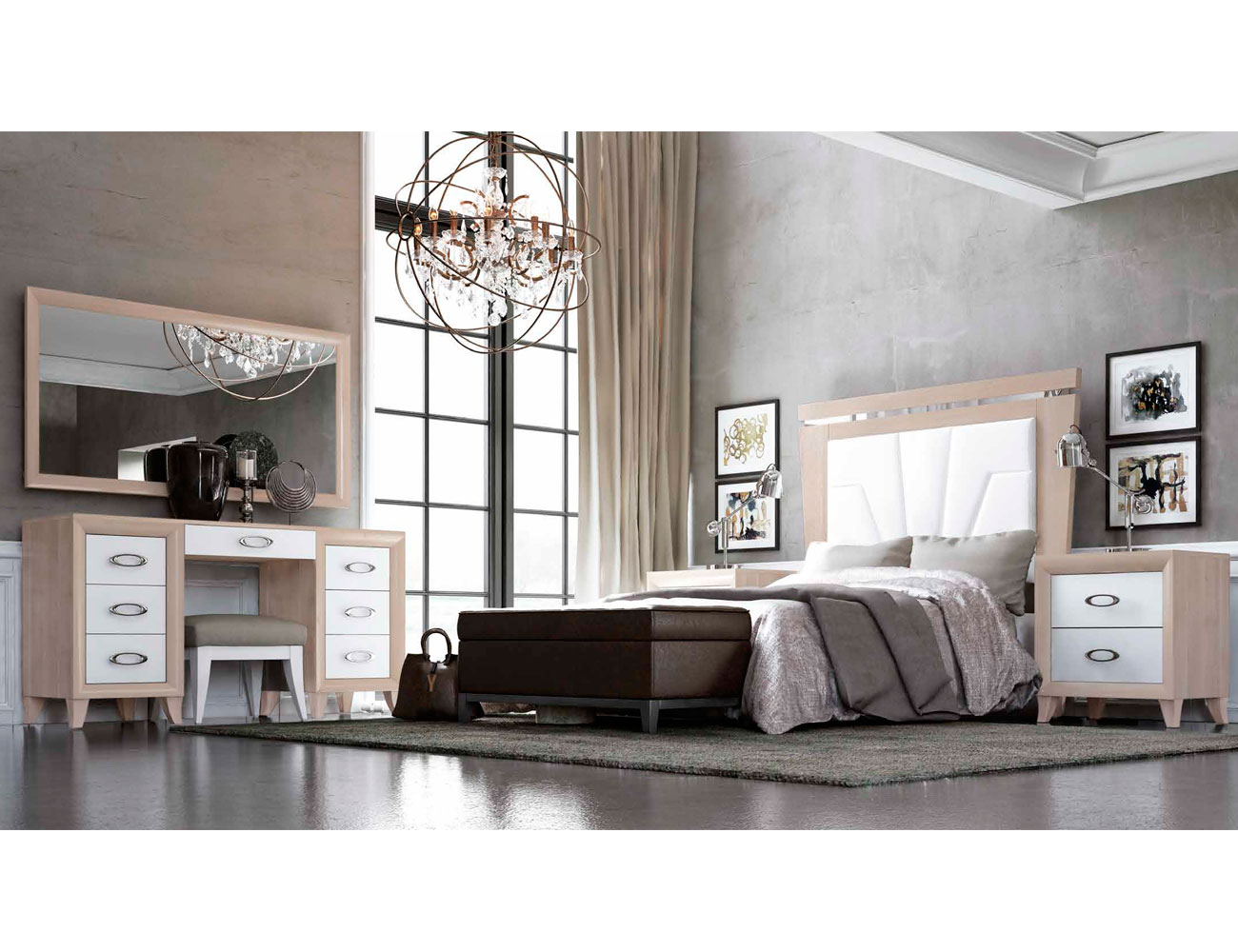 Dormitorio matrimonio romantico con desmaquilladora