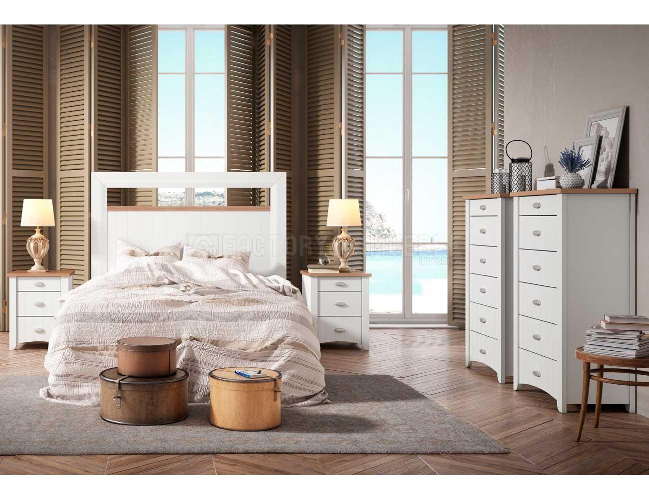 Dormitorio matrimonio rustico blanco 5