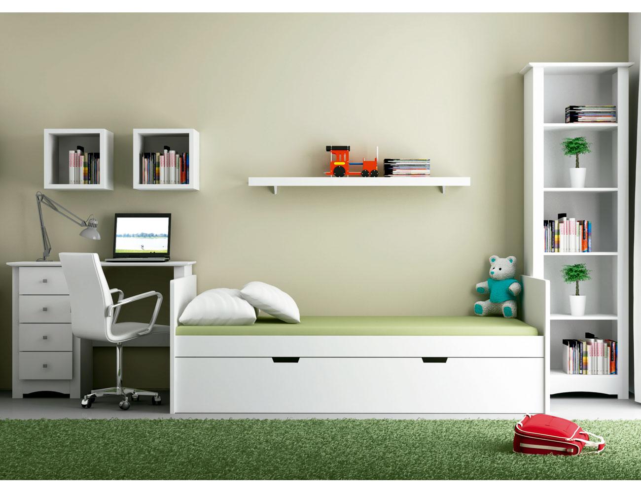 Dormitorio nido juvenil madera dm lacado blanco