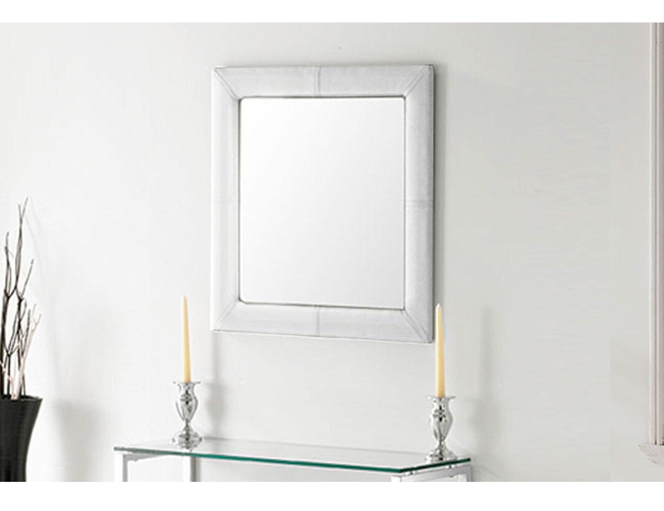 Espejo tapizado polipiel blanco