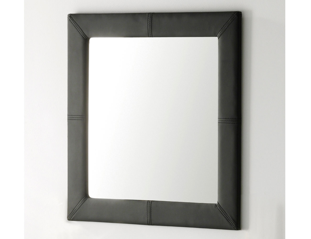 Espejo tapizado polipiel negro