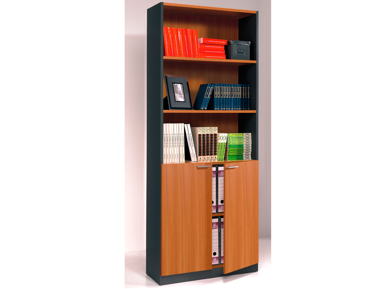 Libreria estanteria oficina despacho grafito nogal 2 puertas