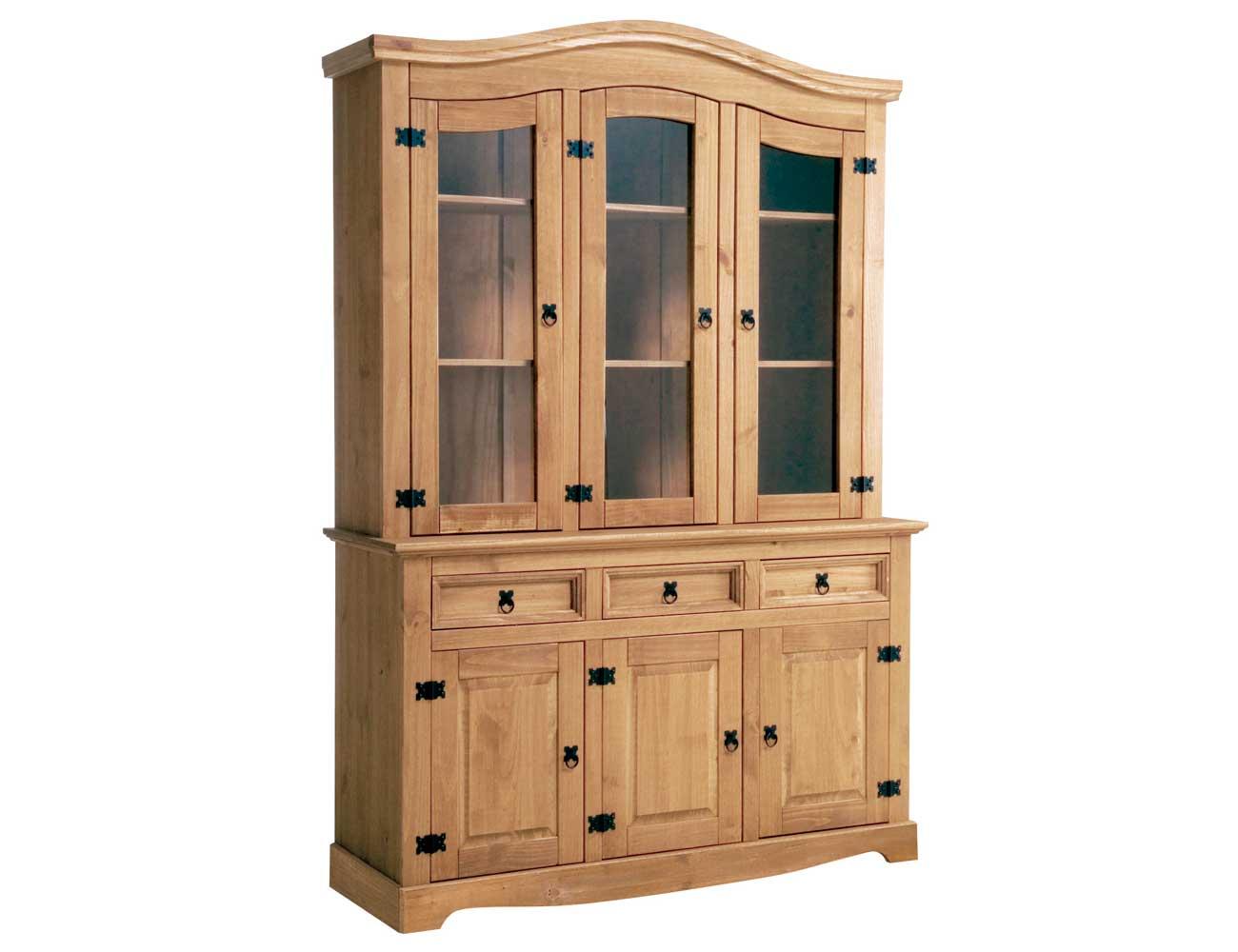 Librero expositor con aparador comedor madera rustico nogal claro vitrina cristal 143 cm