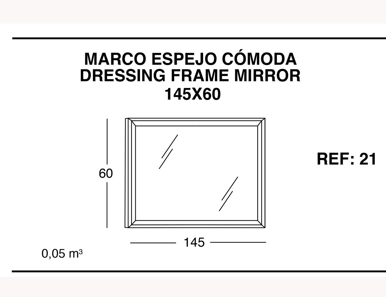 Marco espejo comoda 145 60