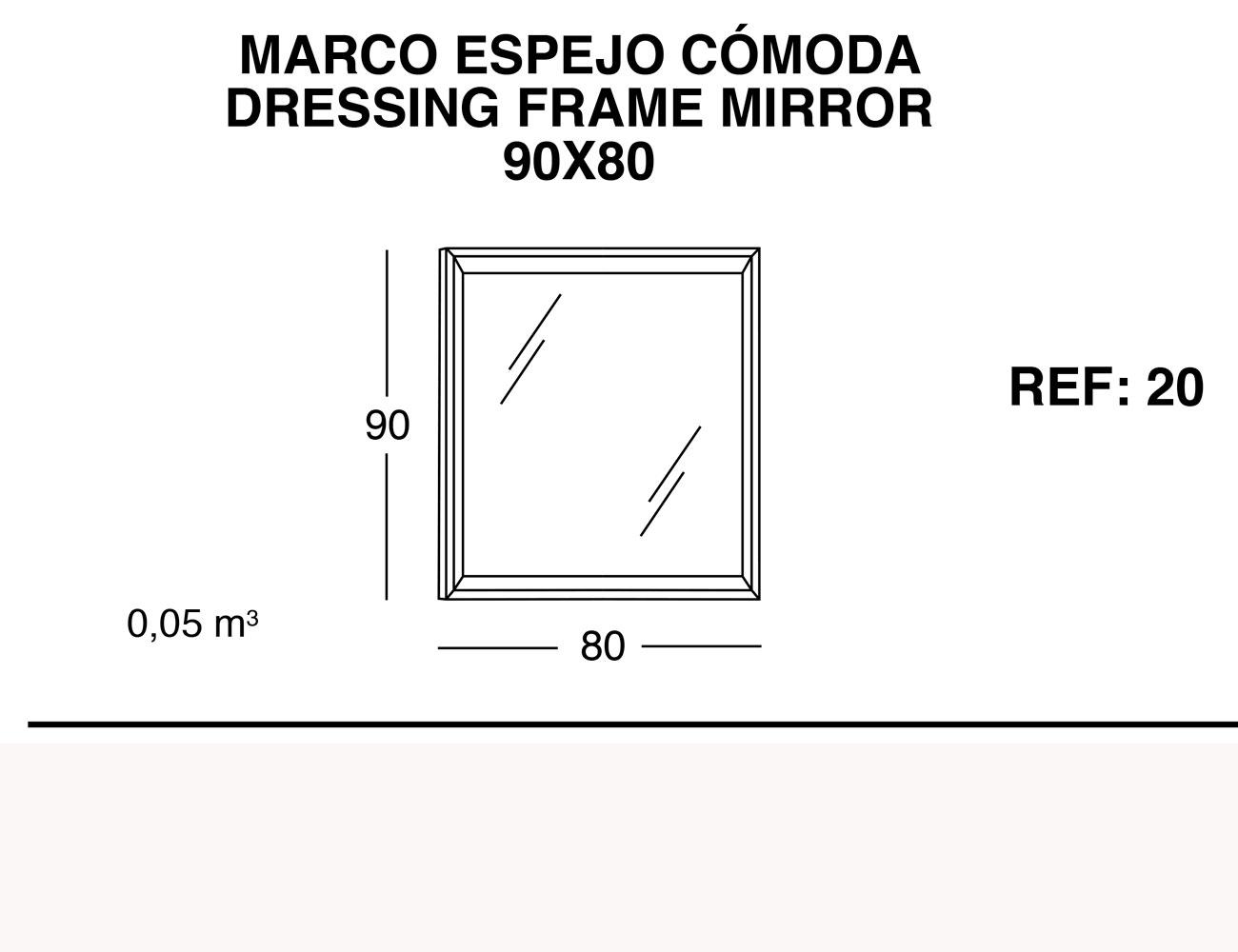 Marco espejo comoda 90 80