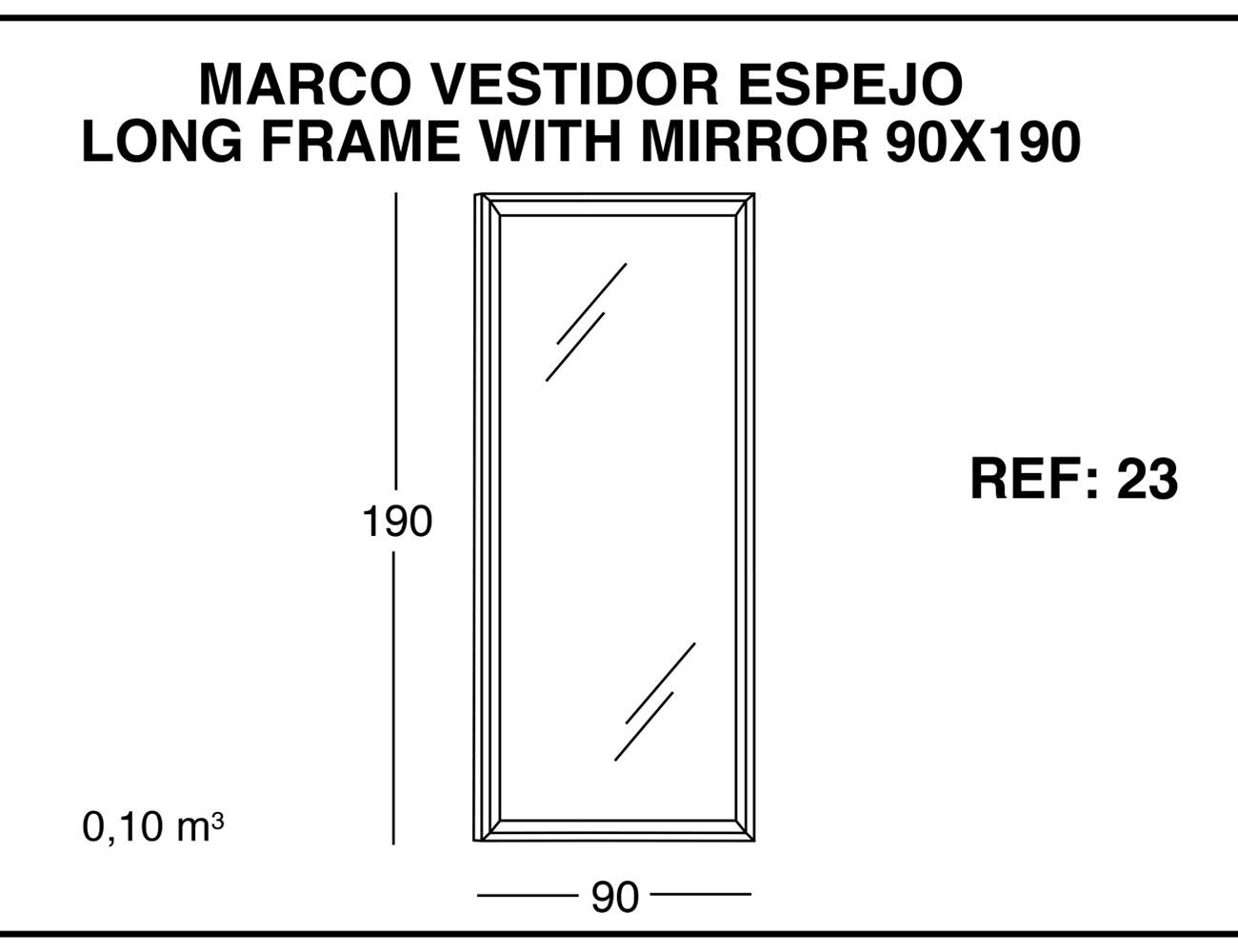 Marco vestidor espejo 90x190