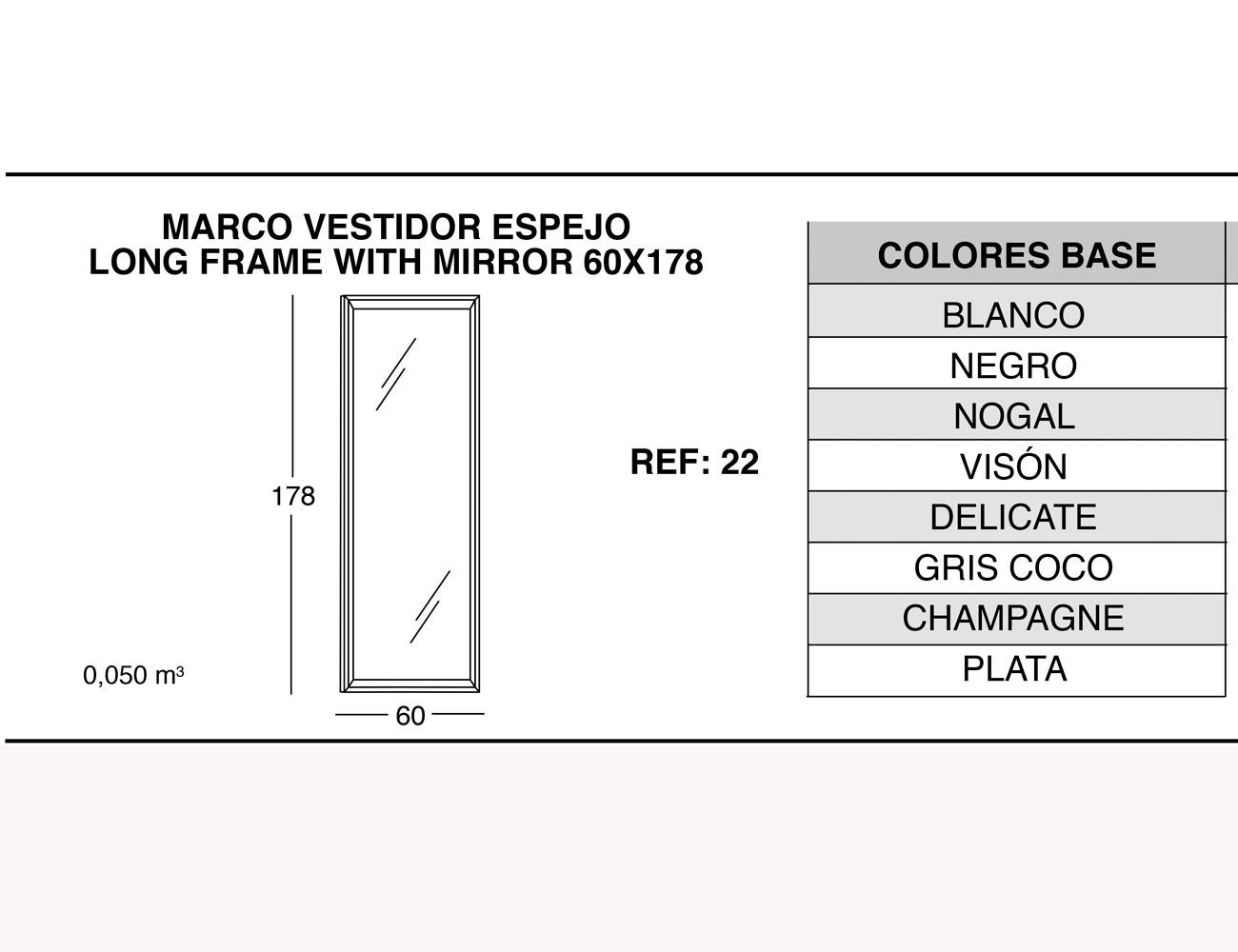 Marco vestidor espejo