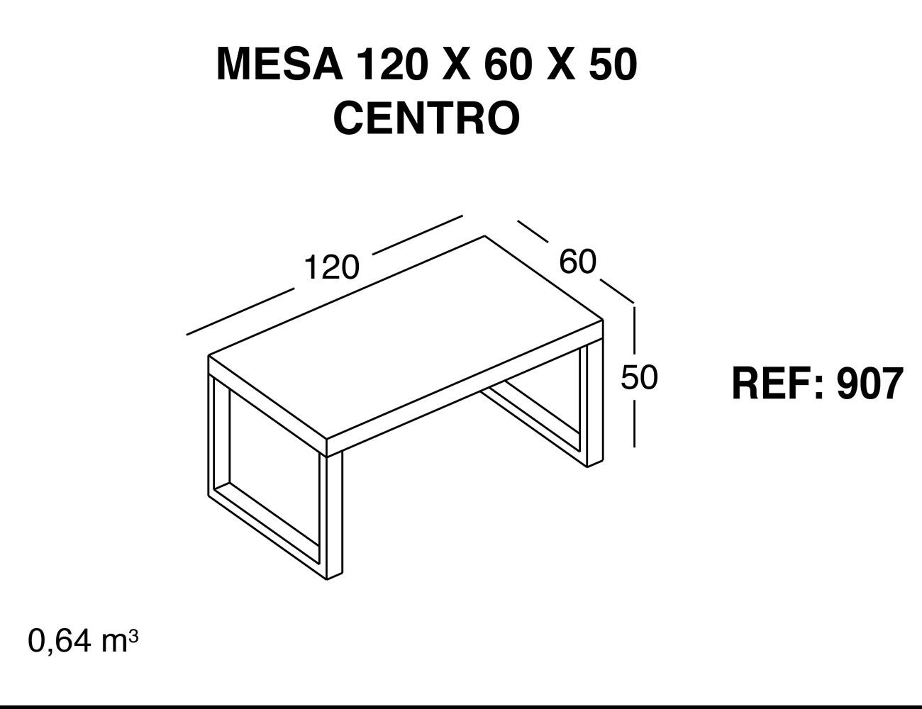 Mesa centro 120 60 50