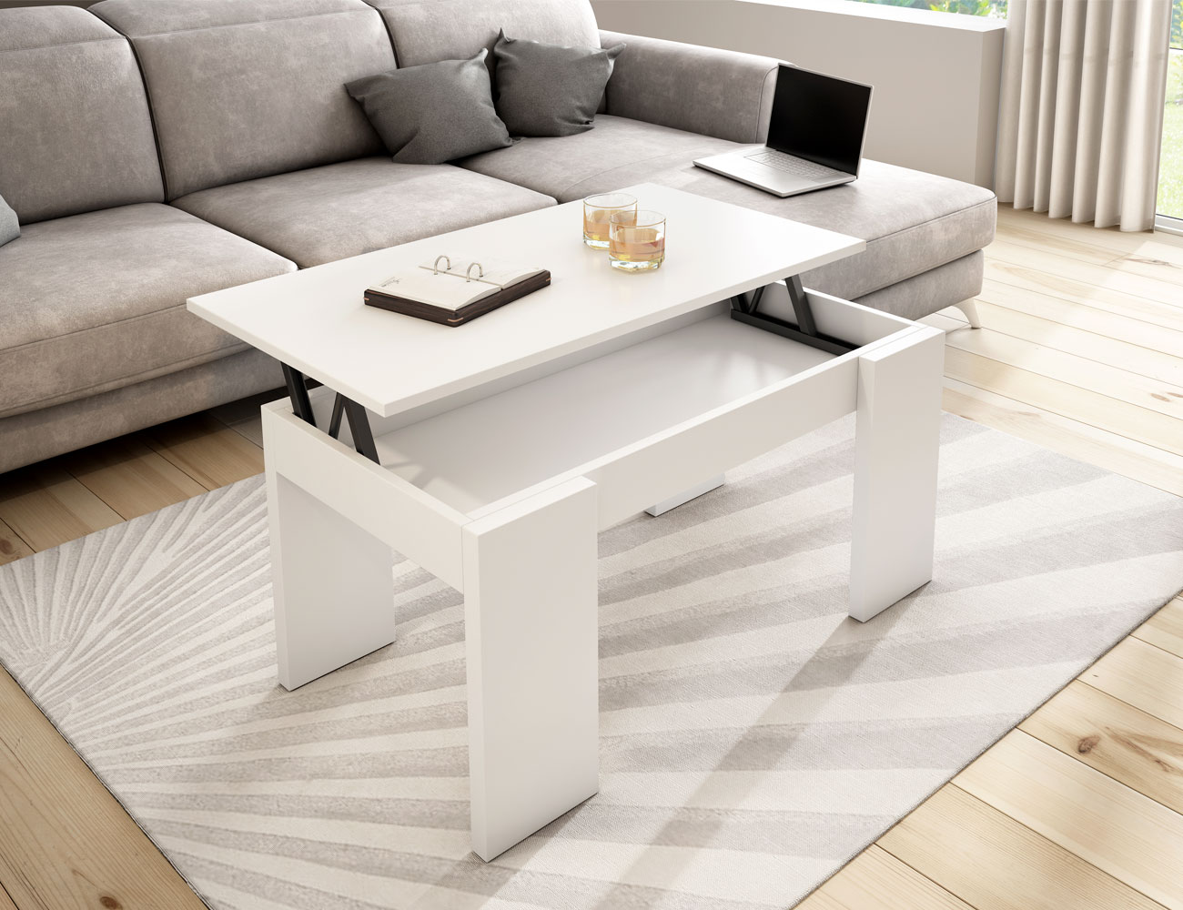 Mesa centro blanco elevable 211