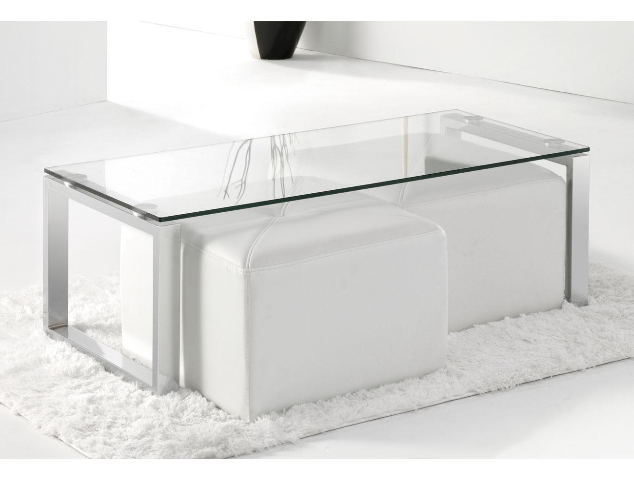 Mesa centro cristal templado cromada