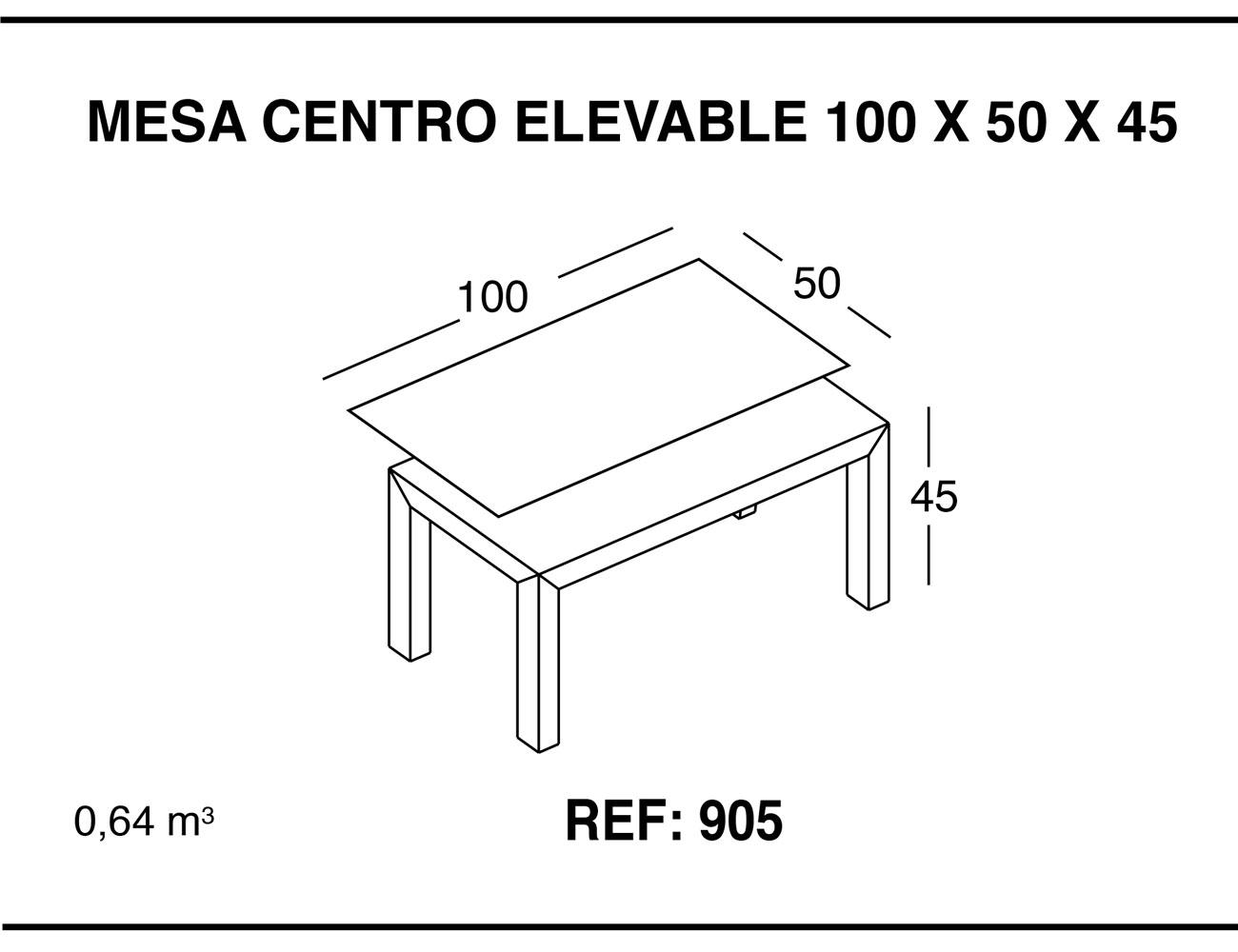 Mesa centro elevable 100 50 45