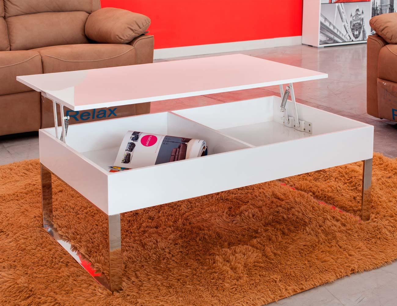 Mesa centro elevable blanco alto brillo