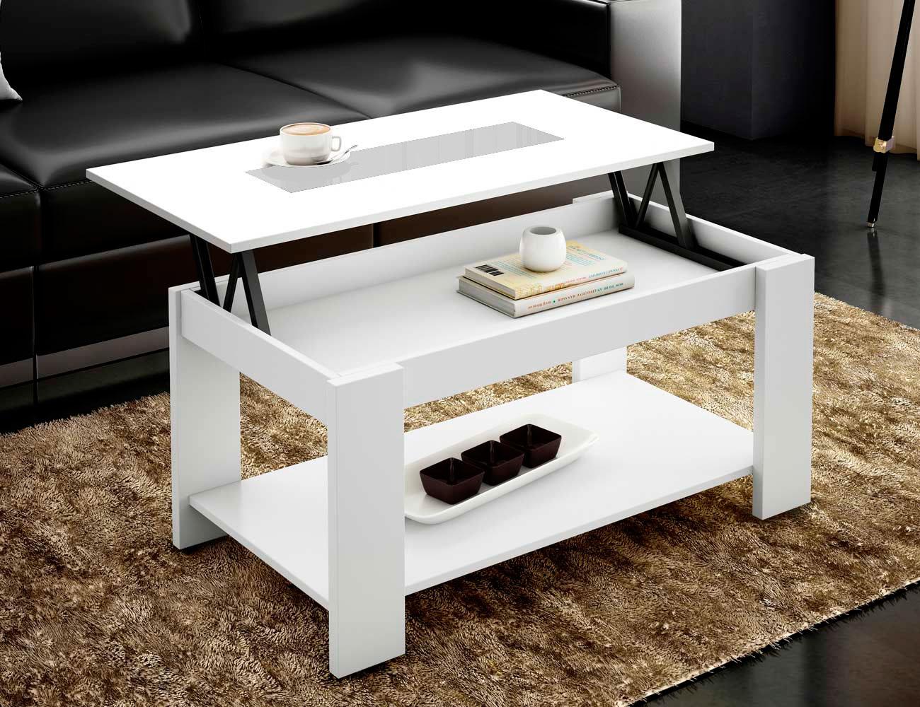 Mesa de centro elevable en blanco con cristal blanco - Mesa cristal blanco ...