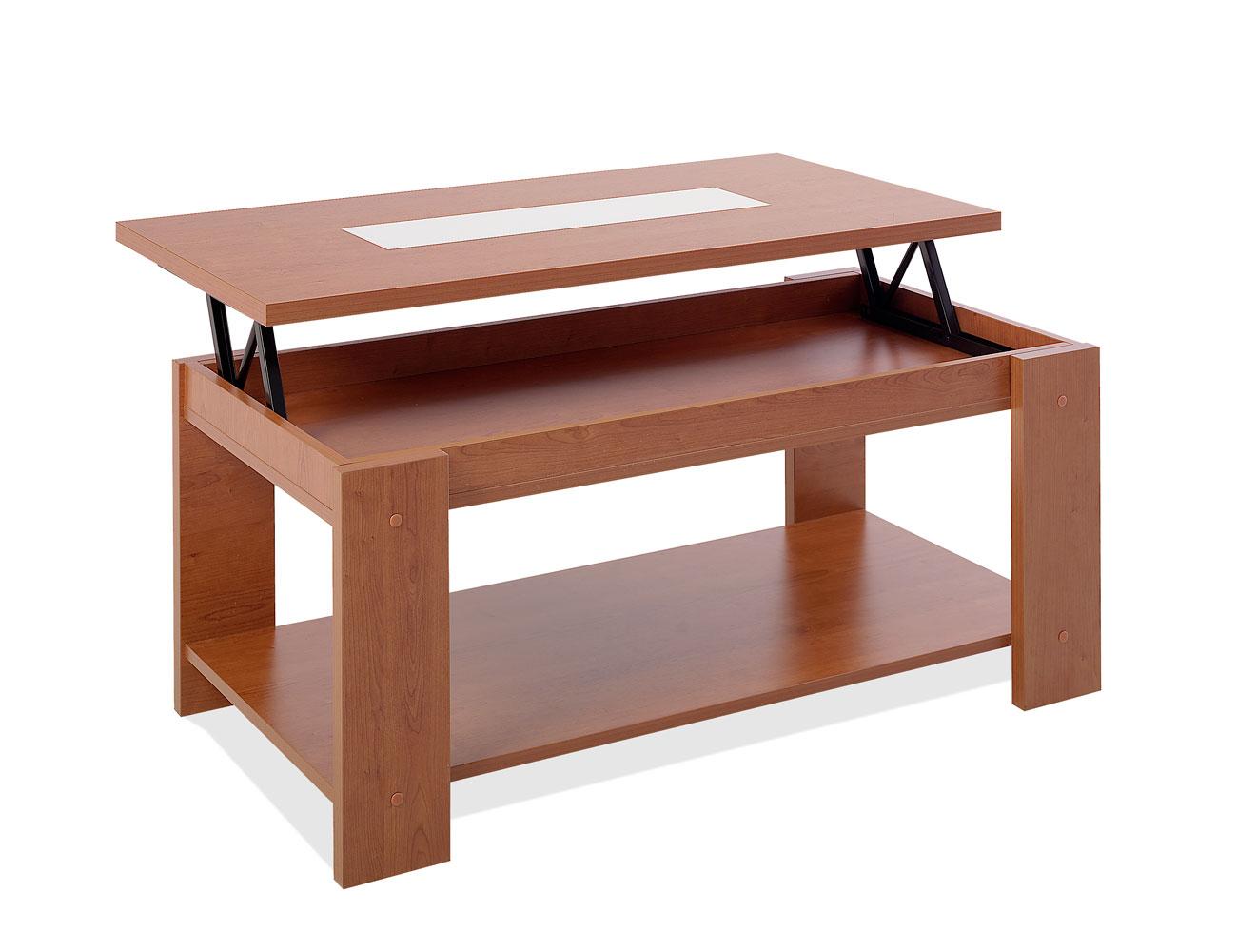Mesa de centro elevable en cerezo con cristal blanco 4643 - Mesa de centro elevable ...