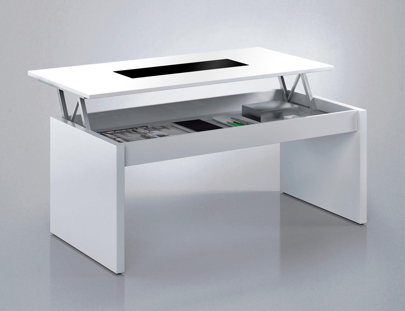 Mesa centro elevable con cristal blanco