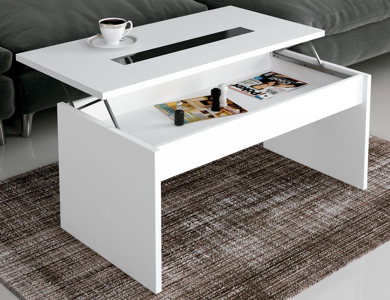 Mesa de centro elevable con cristal en color blanco 19118 - Mesa cristal blanco ...