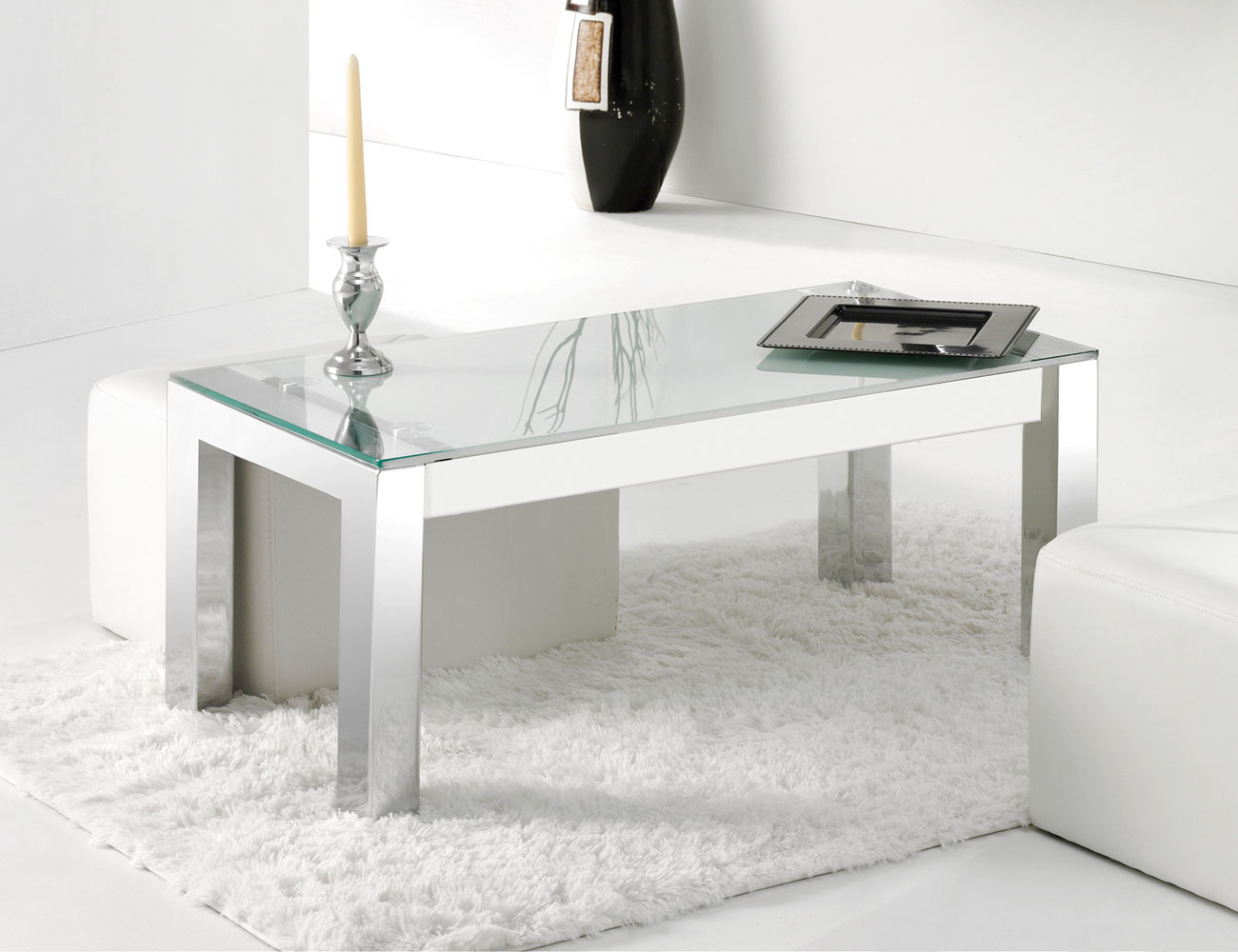 Mesa de centro elevable con patas cromo y tapa en cristal for Patas para mesa de centro
