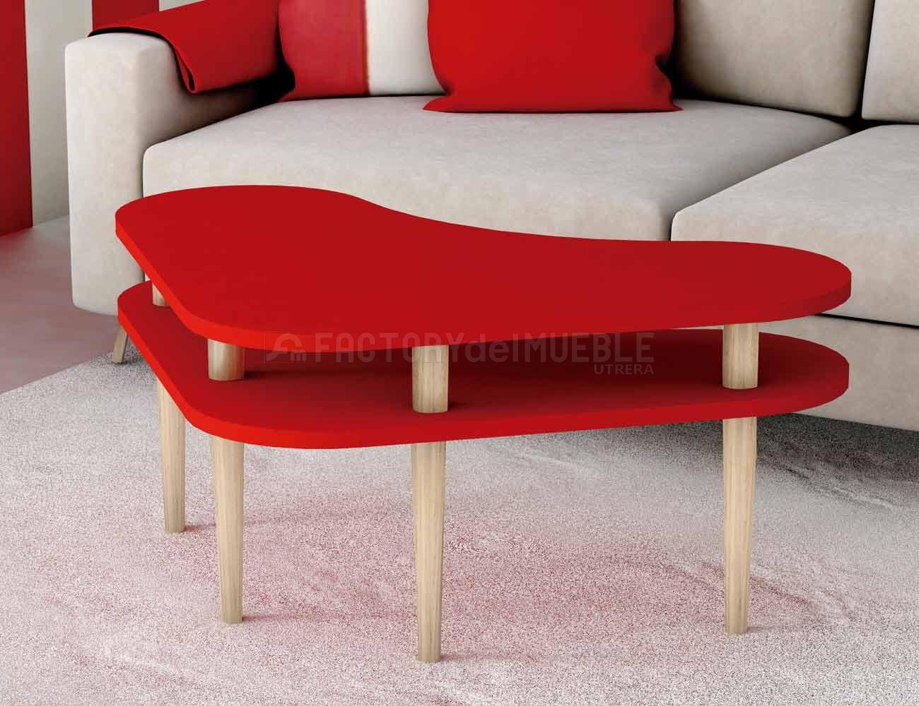 Mesa centro forma corazon rojo