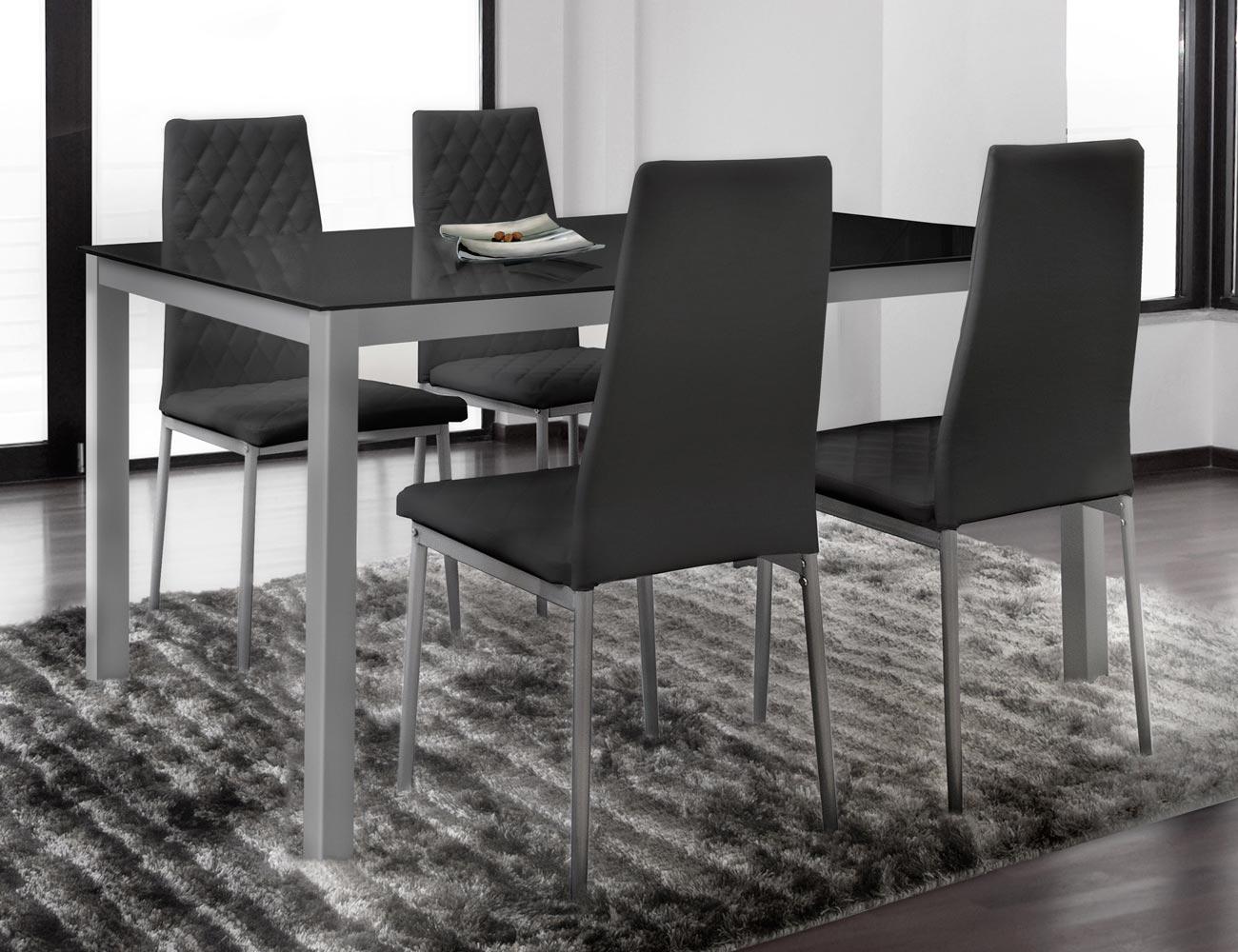 Conjunto de mesa mas cuatro sillas en polipiel color negro (3647 ...